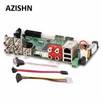 AZISHN FULL HD CCTV H.264 4CH AHD DVR 1080N Гибридный AHD/CVI/TVI/CVBS 960 H D1 CIF 8CH1080P NVR, безопасности HDMI 5 в 1 основная плата