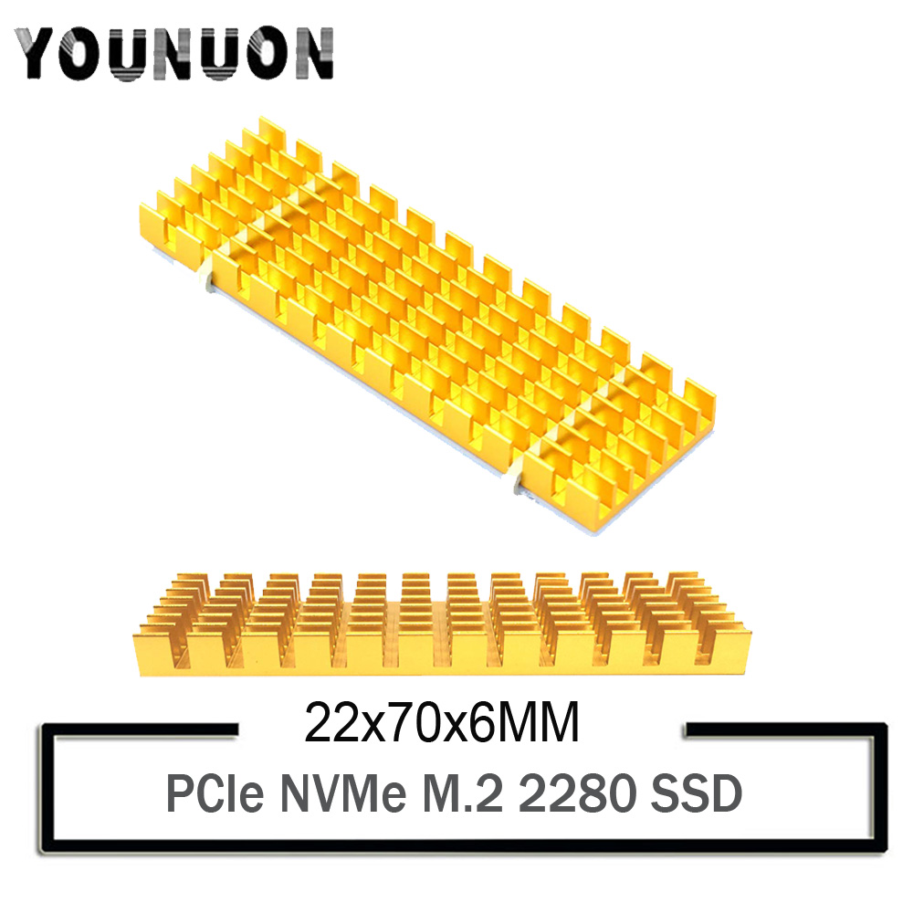 Aluminum Heatsink for PCIe NVMe M.2 2280 SSD with Silicone Thermal Pad Gold