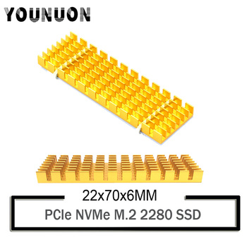 2Pcs YOUNUON Aluminum Heatsinks for PCIe NVMe M.2 2280 SSD with Silicone Thermal Pad, DIY Laptop PC Memory Cooling Fin Radiatio