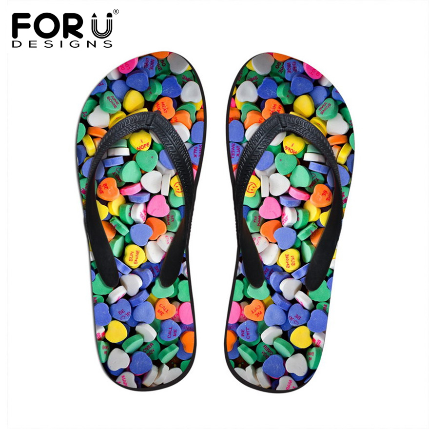 FORUDESIGNS Fashion Candy Color Rubber Flip Flops for Women Summer Beach Water Slippers Comfortable Soft Bottom Sandals Shoes candy colors women slippers clogs mules eva 2017 summer flip flops beach garden shoes fashion sandals outdoor chinelo feminino
