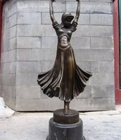 Westward Great Pure Bronze Copper & Marble dancing girl Beauty statuary statue