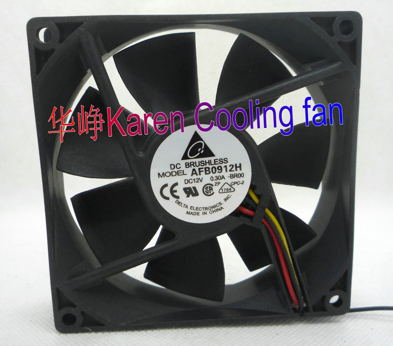 DELTA 9CM 92*92*25MM  9225 12V 0.3A AFB0912H -BR00 3WIRE  Cooling fan обогреватель delta d 25 9