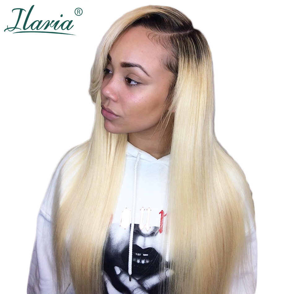 Dark Root Blonde Lace Front Human Hair Wigs For Black Women 1B 613 Remy Brazilian Ombre