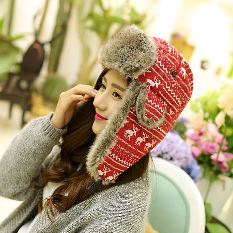 HT353 Hot Russian Style Snow Earflap Cap for menn Kvinner Deer Trapper Hat med Ear Flap Female Faux Fur Winter Bomber Hatter for menn