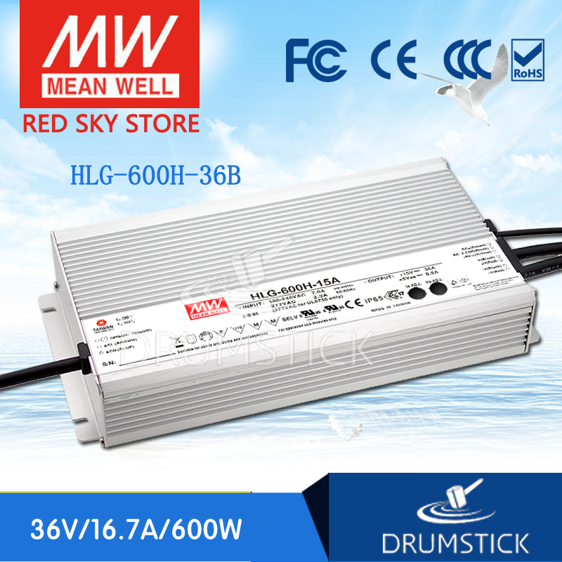 Hot sale MEAN WELL original HLG-600H-36B 36V 16.7A meanwell HLG-600H 36V 601.2W Single Output LED Driver Power Supply B type genuine mean well hlg 320h 36b 36v 8 9a hlg 320h 36v 320 4w single output led driver power supply b type