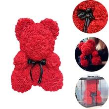 25 см День Святого Валентина Искусственный Красный мишка Роза цветок подарочная коробка для женщин плюшевый медведь кролик подарок