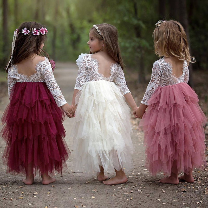 Flower Girls Summer Dress 2018 Princess Party Kids Lace Dresses For Girls Wedding Dress Long Sleeve Backless Children Costumes hot sale flower girls lace dresses for party and wedding lovely princess kids dress fashion children s clothing free shipping