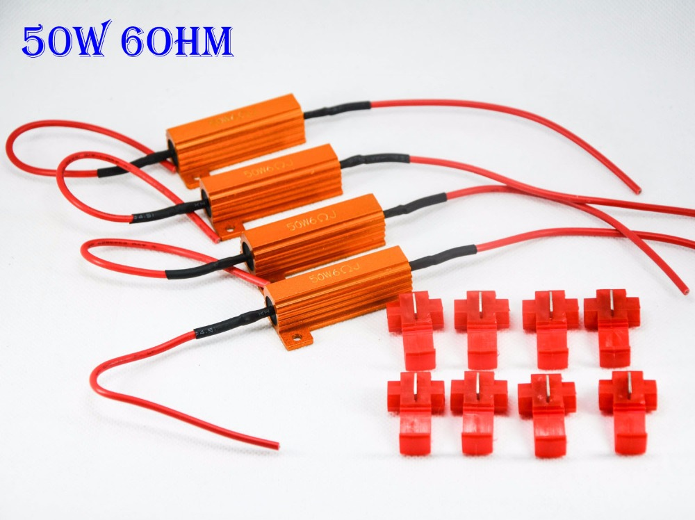 4PCS 50W 6ohm Gold Fuse LED Bulbs High Power Fog Turn Brake Signal Load Resistor Wiring Canbus No Error Fix Flash Blink Hyper