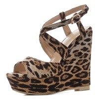 Women Platform Sandals High Heels Leopard Printed Women Summer Shoes Cross Strap Gladiator Sexy Lady Wedge Sandals