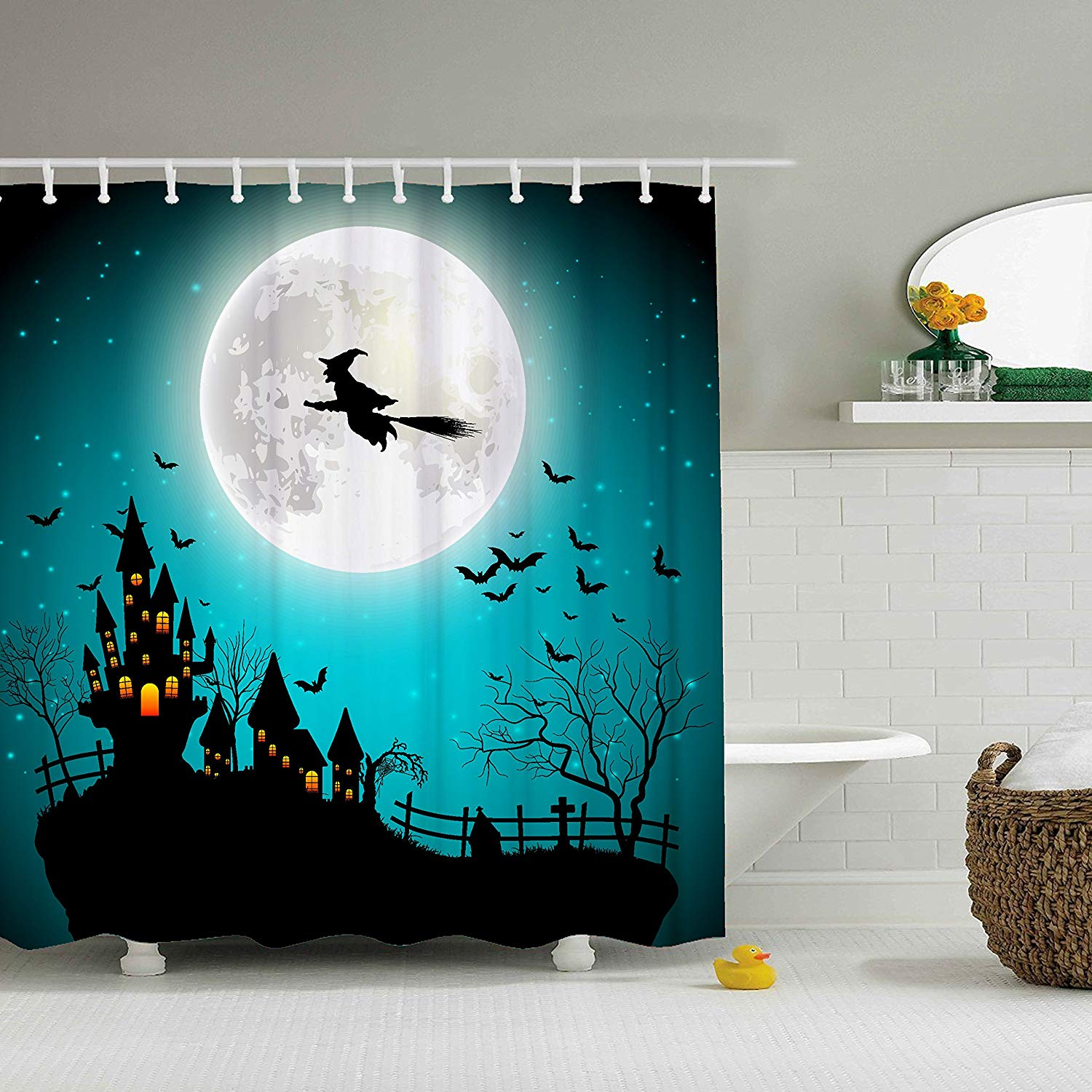 Happy Halloween The Witch Rode A Broom Over The Big Moon