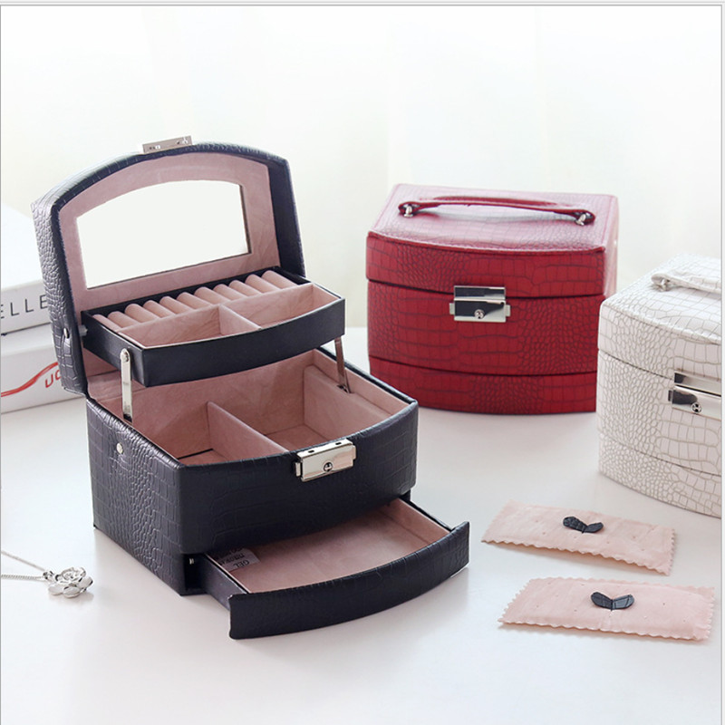 Lizard Striped Automatic Jewellery Box With Lock Exquisite Three Layer Leather Earrings Storage Cases Portable Fashion Gift Box