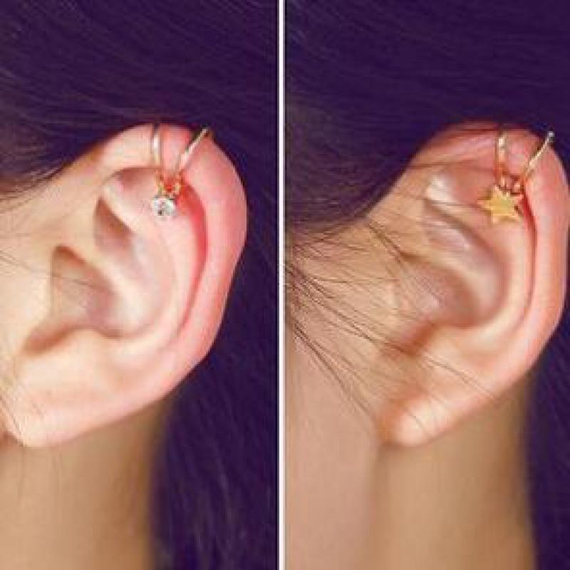 1 New Fashion Star Moon Heart Big Girl Clip Earrings Gift Women Without Pierced Earrings Fake Ear Bones Clip Factory Wholesale gold earrings for women