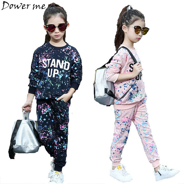 Spring Girl Clothing Sets Letter T-shirts+Graffiti Pants 2pcs Children Clothes Set 5-11 Y Kids Sports Suit Teenagers Tracksuit