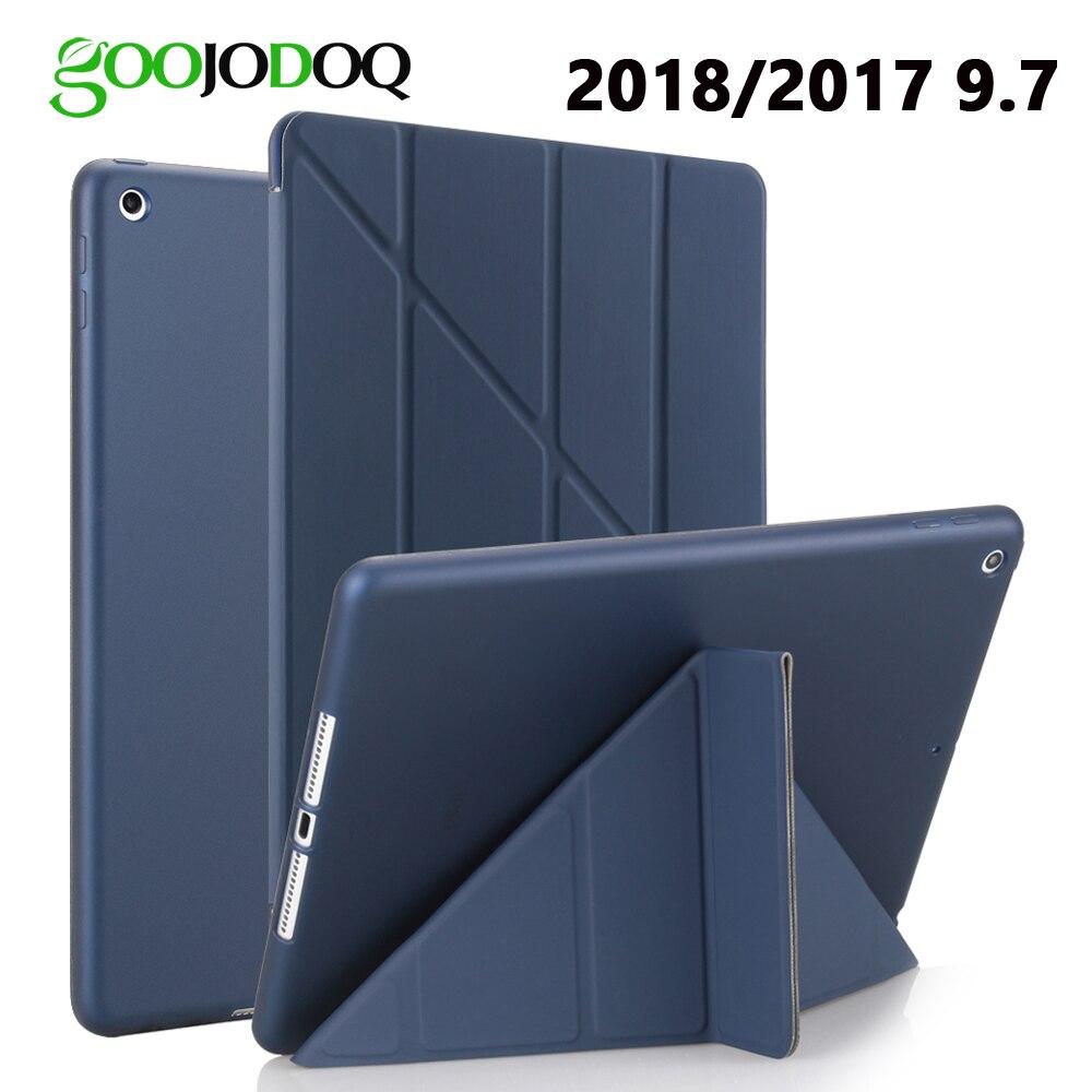 Per iPad 9.7 2017 2018 Cassa DELL'UNITÀ di ELABORAZIONE di Cuoio Molle Del Silicone Posteriore A1822 A1893 Transformers Smart Cover Slim per iPad 2018 caso 9.7 pollice