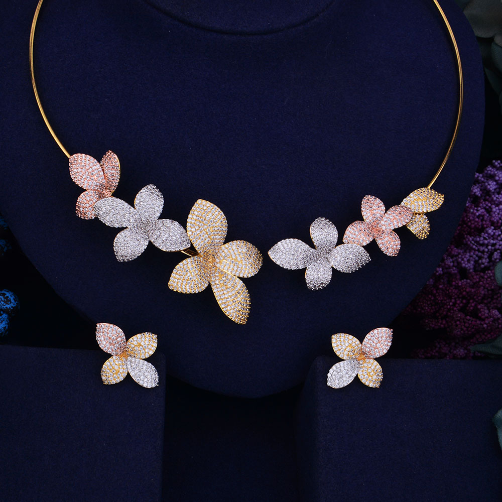 GODKI Luxury Flower Boom Women Wedding Bride Cubic Zirconia Necklace Earring Dubai Jewelry Set Jewellery Addiction