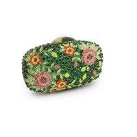 XIYUAN BRAND New Women Luxury Flower green Crystal Clutch Evening Bag Ladies Wedding Purses Dinner Party Clutches