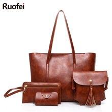 New Women bag Leather Handbags Fashion Shoulder Bags Female Purse High Quality Four-Piece Set Designer Brand Bolsa Feminina 201