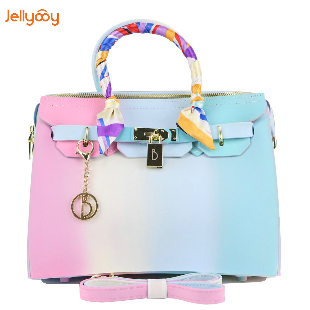 Jellyooy Beachkins Women's Zipper Handbags Matte Rainbow Color Candy Bag PVC Luxury Jelly Handbag usb male to micro usb nylon woven cable for htc samsung white black 100cm