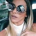 Aoubou cat eye óculos de sol espelho mulheres óculos de design da marca do vintage liga envoltório uv400 oculos de sol feminino 7114