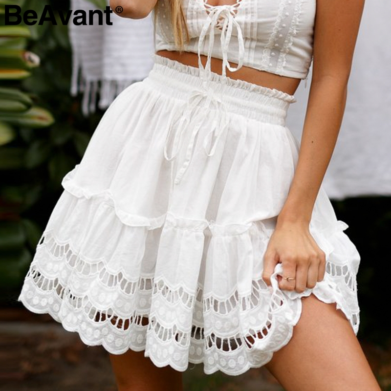BeAvant A-line High Waist Women Skirt White Embroidery Cotton Mini Skirts 2019 Casual Loose Ruffle Beach Summer Skirt Female
