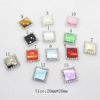 Nuevo 10 unids/lote de diamantes de imitación cuadrados de acrílico, de colores variados botones decorativos, accesorio de decoración de boda Diy, chapado en plata con parte posterior plana