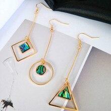 Europe and the United States original color shells minimalist geometric circular square pendant long triangle earrings