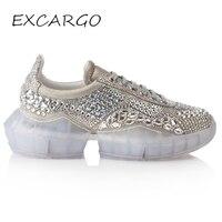 EXCARGO/женские кроссовки со стразами из натуральной кожи 2019 весенняя обувь повседневная женская обувь со стразами на платформе белые кроссов