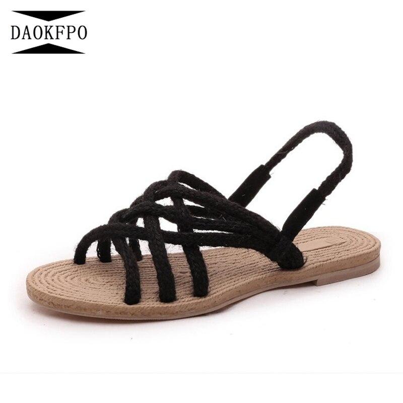 DAOKFPO Roman Ladies Sandals Hemp Braided Shoes Women Flat Sandals Summer Cross Bandage Shoes Ladies Shose NVB-02
