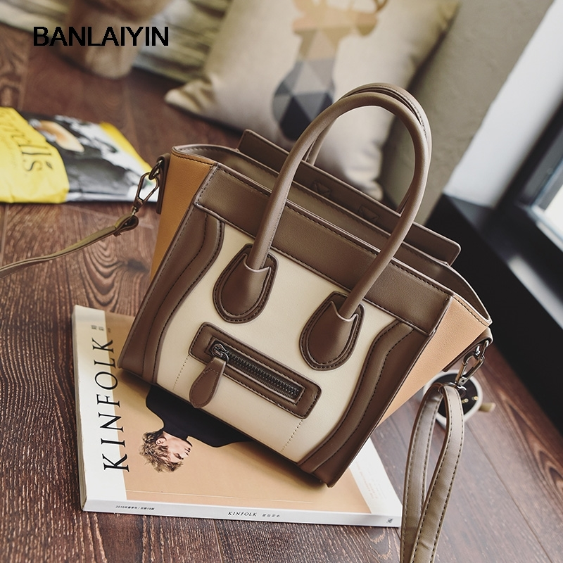 Nice Bolsos Mujer Trapeze Smiley Tote Bag Luxury Brand Artificial Leather Women Handbag Shoulder Bag Crossbody Bags feral cat ladies hand bags pvc crossbody bags for women single trapeze shoulder bag dames tassen handbag bolso mujer handtassen