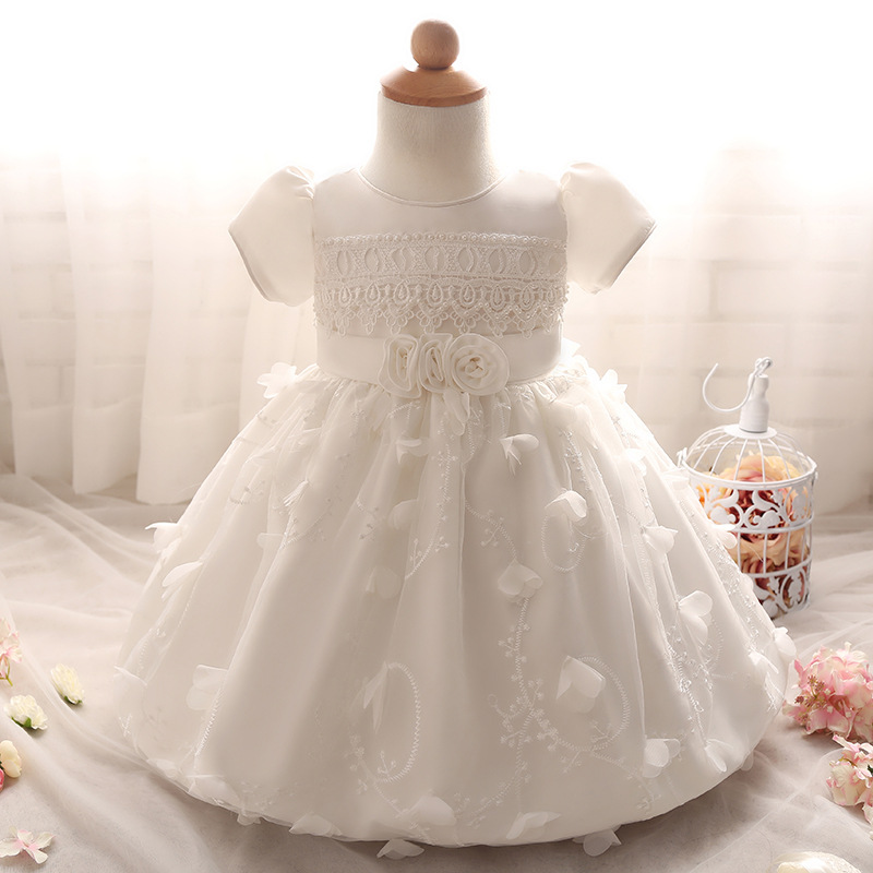 Baby Wedding Clothes Pink White Beige First Communion Dresses for Girls Short Sleeve Floral Lace Kids Infant Girl Flower Dress