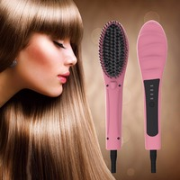 LED Electric Hair Straightener Comb Anion Fast Straight Hair Pink White LCD Hair Straightene Brush Professional