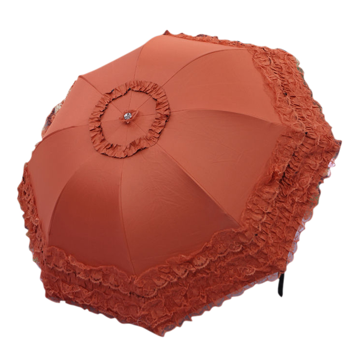 Women's Princess Dome/Birdcage Sun/Rain Folding Umbrella For Wedding Lace Trim orange