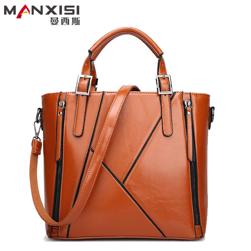 MANXISI Brand Women Bag  European And American Brown Leather Bag Women Handbags