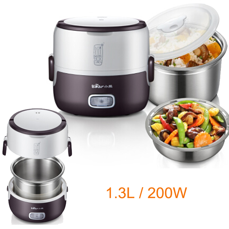 15%JA151 Food Warmer With Stainless Steel Liner Negative Pressure Food Fresh-keeper 1.3L200W Electric Heating Lunch Box Anti-dry bear dfh s2516 electric box insulation heating lunch box cooking lunch boxes hot meal ceramic gall stainless steel