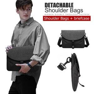 Image 3 - Männer Leinwand Abnehmbare Messenger Taschen Hohe Qualität Wasserdichte Schulter Tasche + Aktentasche Für Business Travel Umhängetasche