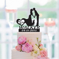 Family Style Custom Wedding Cake Topper ,Personalized Name Bride and Groom with a Girl , Mr & Mrs Cake Toppers