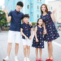 Family Fashion Summer Tendrils 2017 Family Set Short Sleeve Shirt Clothes For Mother And Daughter One