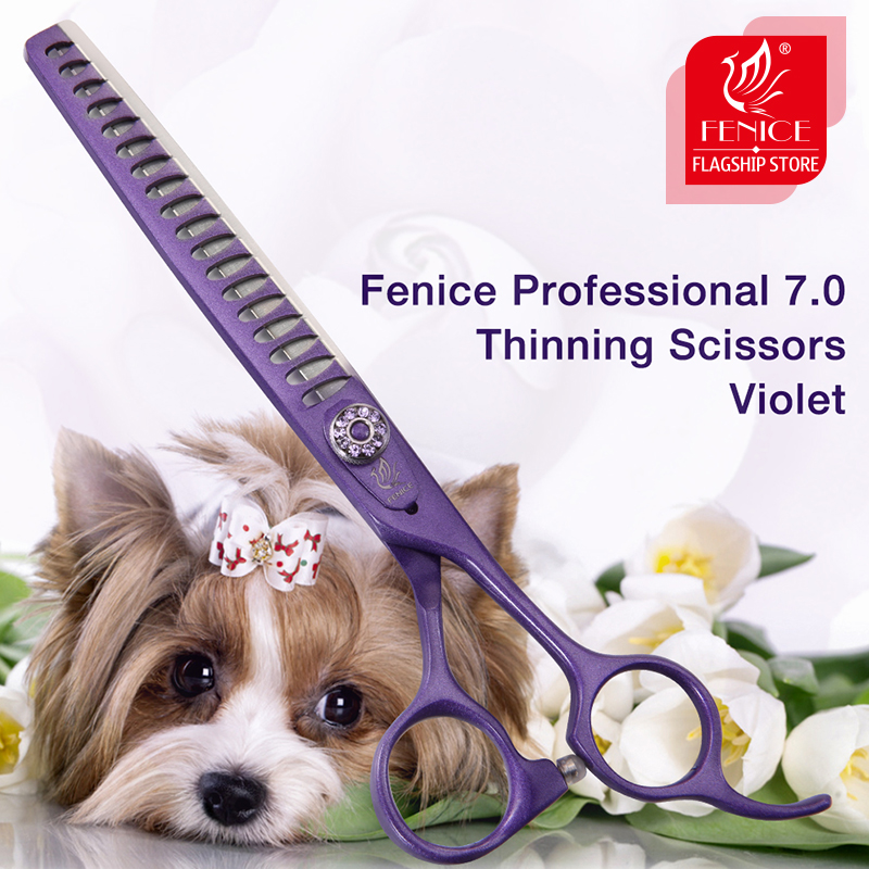 Fenice Professional Violet 7 0 inch Thinning Scissors Pet Dog Grooming