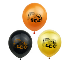 10Pcs Gold Black Construction Excavator Theme Car Latex Balloons Kids Birthday Decoration Party Supplies Baby Shower
