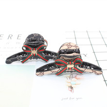 New Scottish plaid bowknot stripe hair crab claw clip for lady girl Cloth Green and red printing hairpin headwear accessories