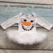Осень/зима новорожденных девочек рождество белый улыбка снеговика долго хлопка рукава младенцы подарок пачка ползунки платье партии одежды
