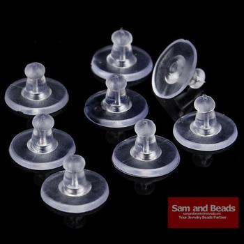 100 sztuk partia kolczyki biżuteria akcesoria guma silikonowa na tył okrągłe zatyczki do uszu zablokowane kolczyk tylne zaślepki dla majsterkowiczów EF011 tanie i dobre opinie Ocena biżuteria RUBBER 11mm Kolczyk powrót 0inch clear white