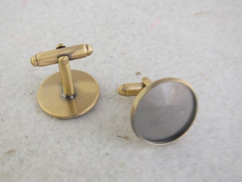 Античная бронзовая французский запонки Blank 20 мм Pad запонки выводы Z-3381