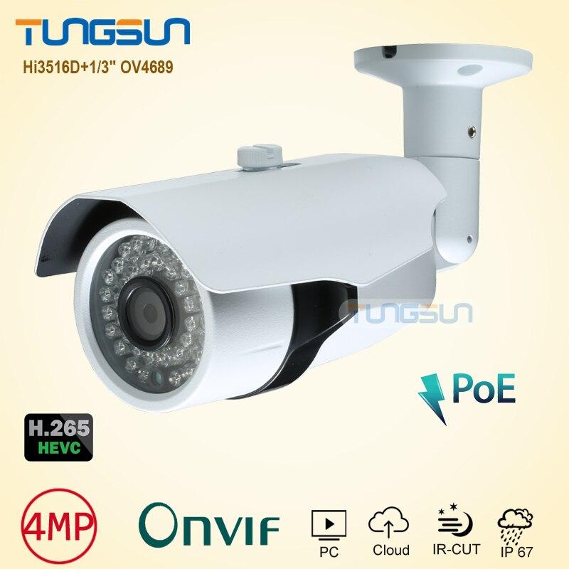 bilder für Neue Super HD 4MP H.265 Ip-kamera Onvif HI3516D OV4689 IP67 Wasserdichte Cctv-gewehrkugel Outdoor 48 V PoE Netzwerk Sicherheit kamera
