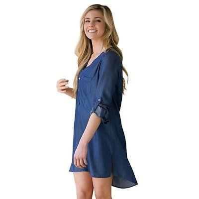 Women jeans dress 2016 women casual long sleeve retro for Womens denim tunic shirt