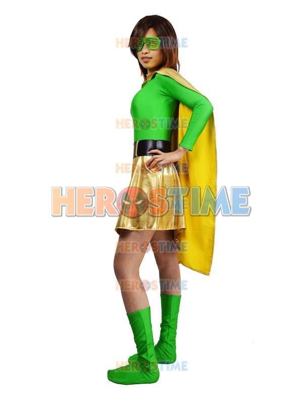 Spandex verde y Light Gold Metallic Superhero Costume disfraces de - Disfraces - foto 2