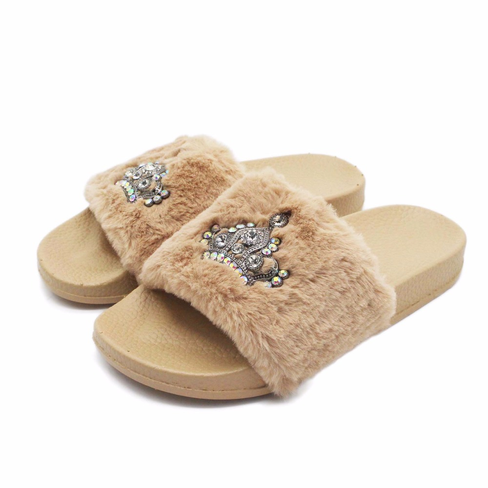 RASS PLE 2018 New Women Fluffy Fur Slippers Spring Summer Autumn Crown  Slippers Bright Flip Flops Comfortable Flat Shoes-in Flip Flops from Shoes  on ... 403085f399d6