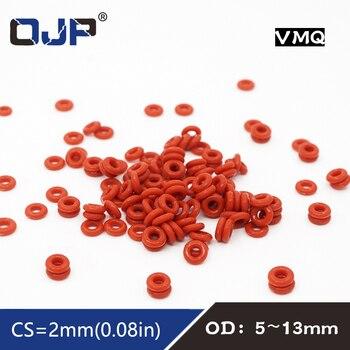 10 unids/lote anillo de silicona rojo de silicona/VMQ junta tórica OD5/6/7/8/9/10/11/12/13*2mm grosor de goma Junta