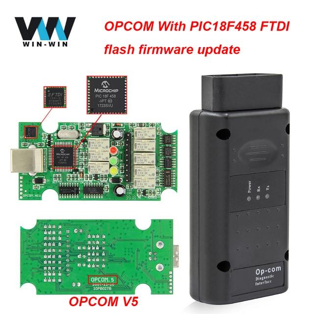 Cable de herramienta de diagnóstico para coche OPCOM V5 1,95 1,70 PIC18F458 FTDI flash, actualización de firmware Op com 1,99 OBD OBD2, para escáner OBD2 de Opel