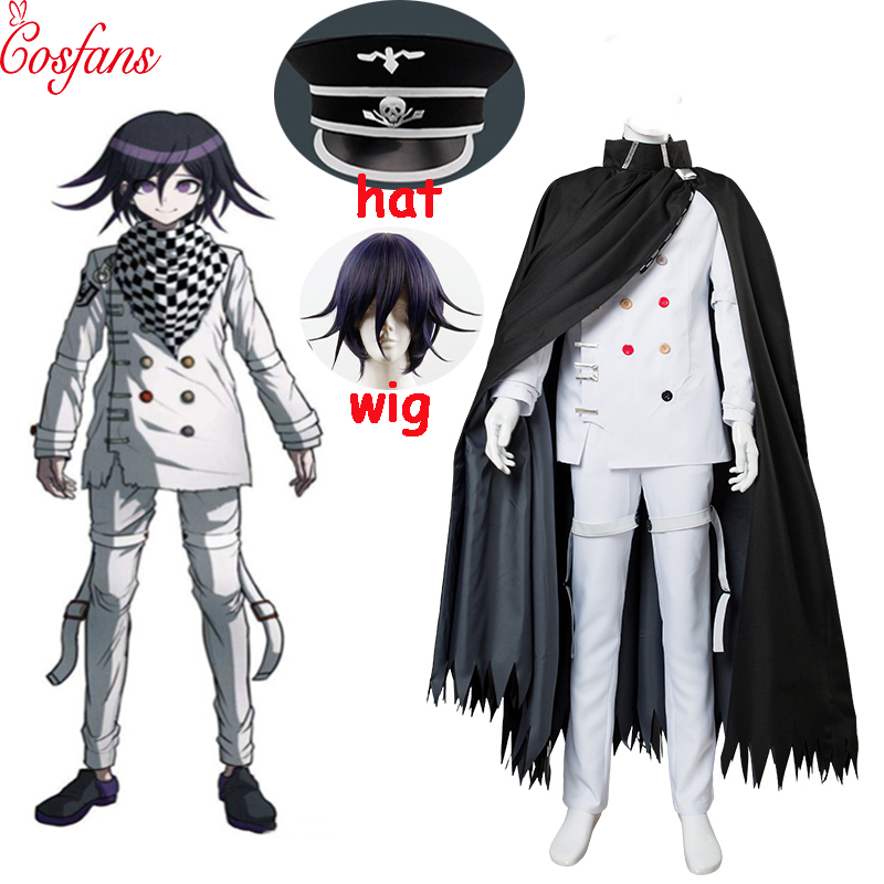 6PCS Anime Danganronpa V3 Ouma Kokichi Cosplay Costume Japanese Game School Uniform Suit Outfit Suit Hat And Wig Free Delivery